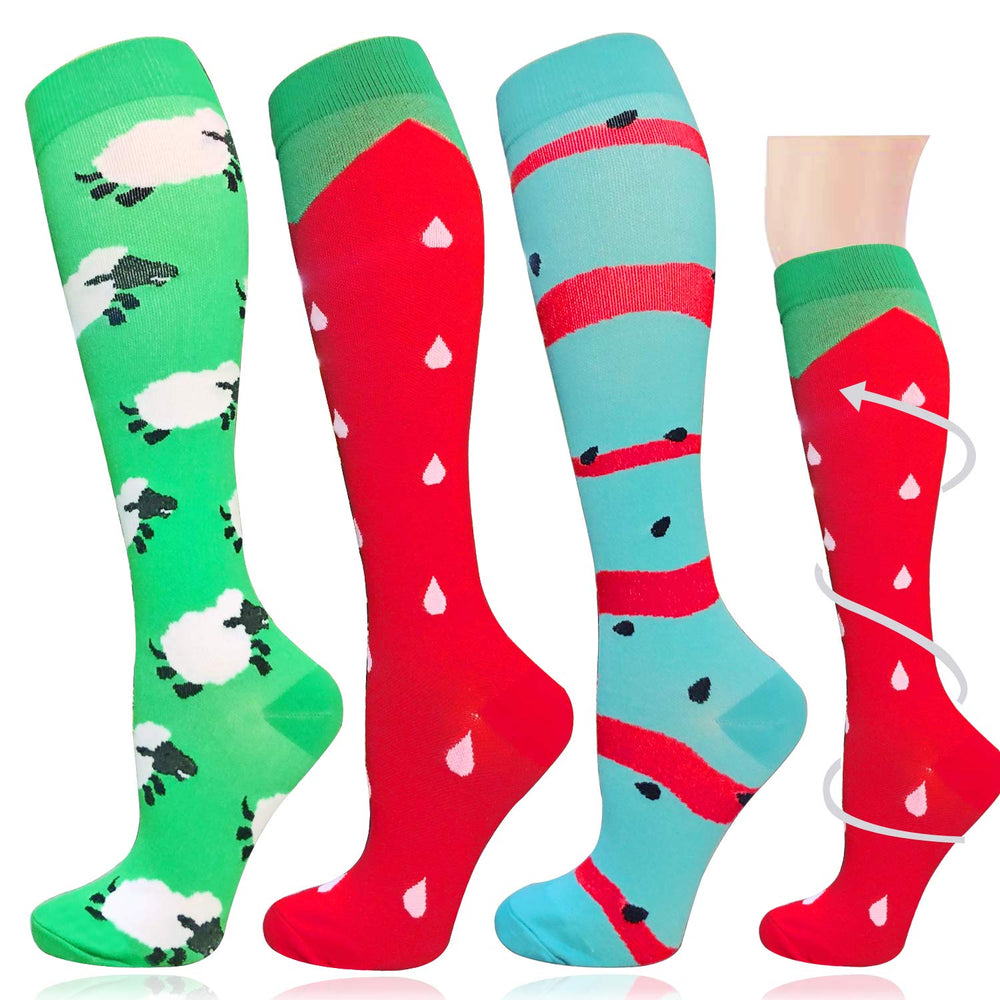 3-Pairs Cute Fashion Compression Socks (20-30 mmHG)| Actinput