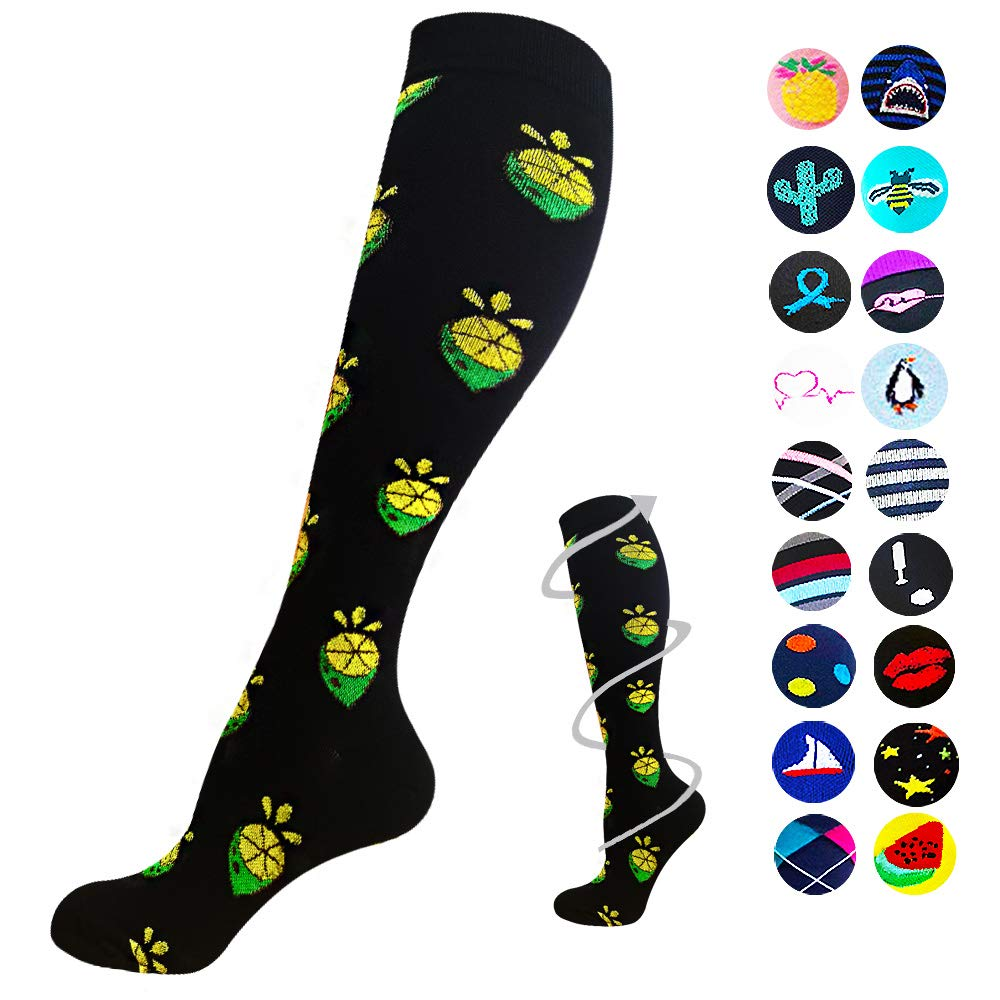 1-Pair Lemon Print Compression Socks ( 20-30MMHG) | Actinput