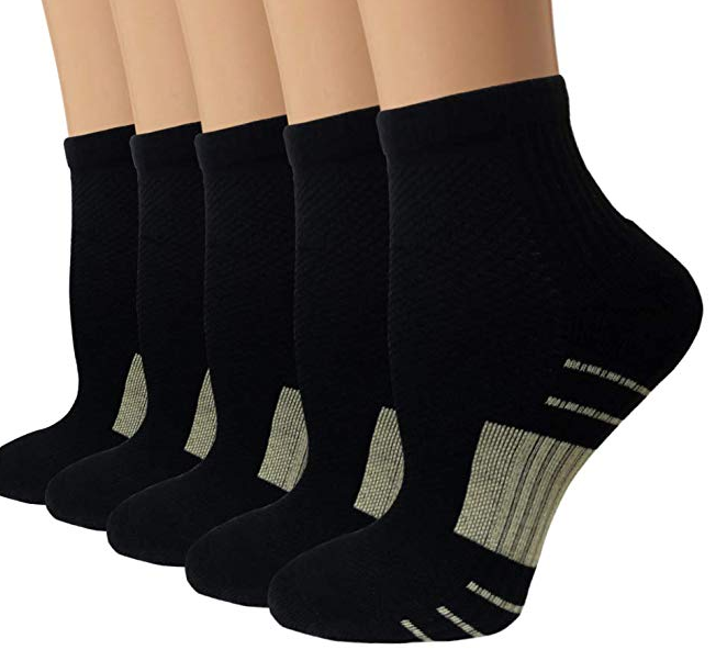 5-Pairs Copper Low Compression Running Socks for Men & Women | Actinput