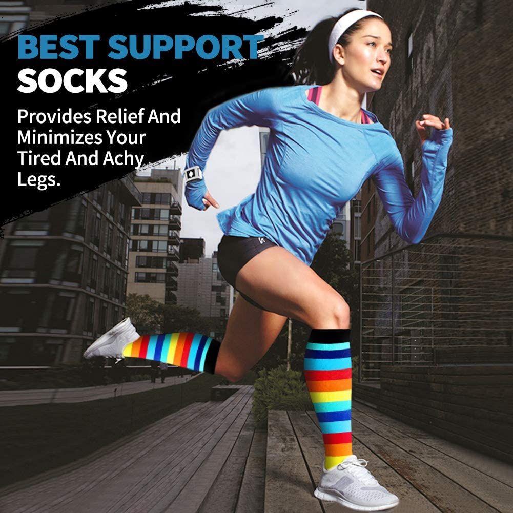 8-Pairs Fun Pattern Mix Compression Socks (20-25 mmHG) | Actinput