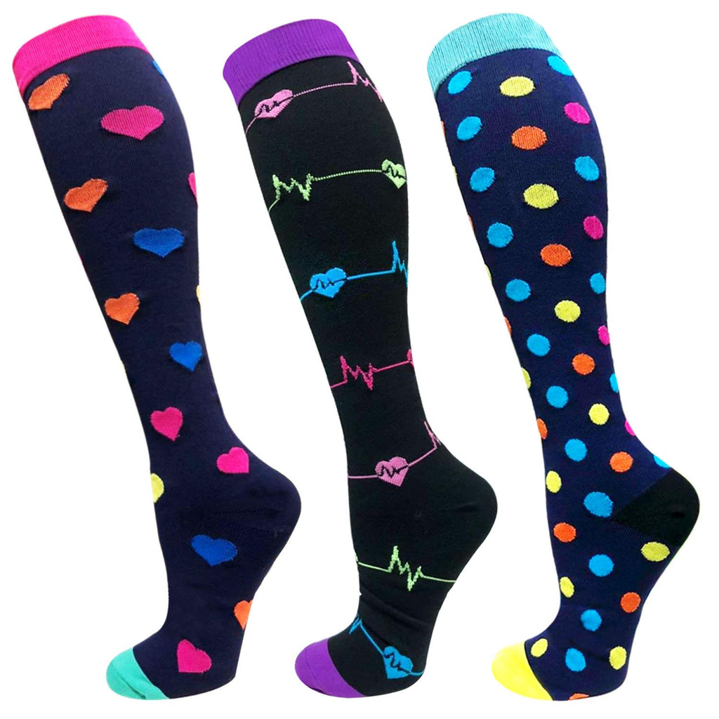 3-Pairs Pattern Mixed Compression Socks(20-30 mmHG) | Actinput