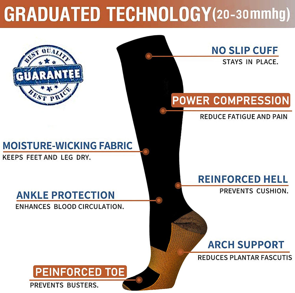 7-Pairs Black Copper Compression Socks For Men & Women (15-20mmHG) | Actinput