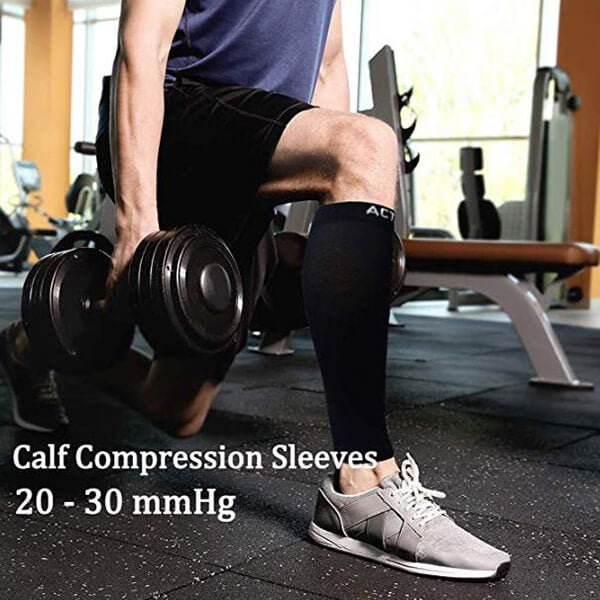 Black Compression Calf Sleeves (20-30mmHg) for Men & Women-1