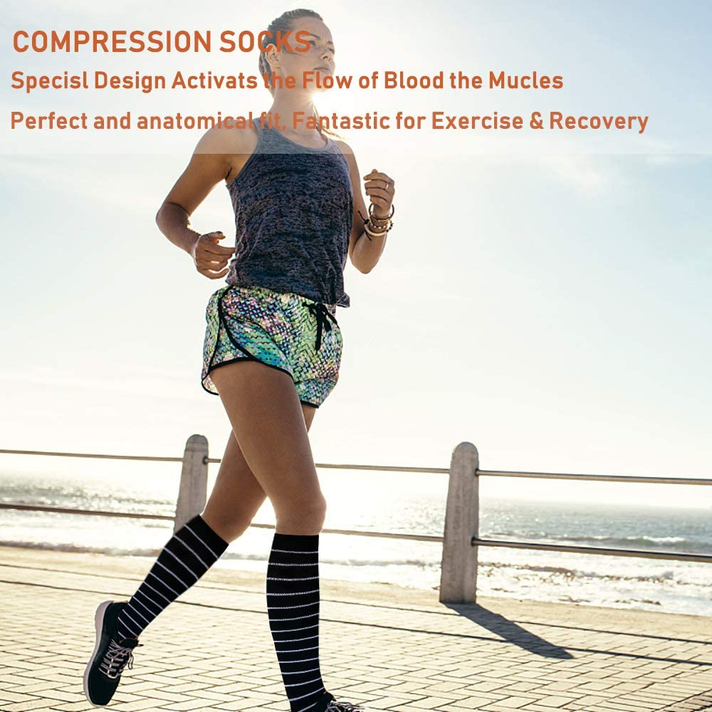 7-Pairs Cool Compression Socks Women & Men (20-30 mmHG) | Actinput