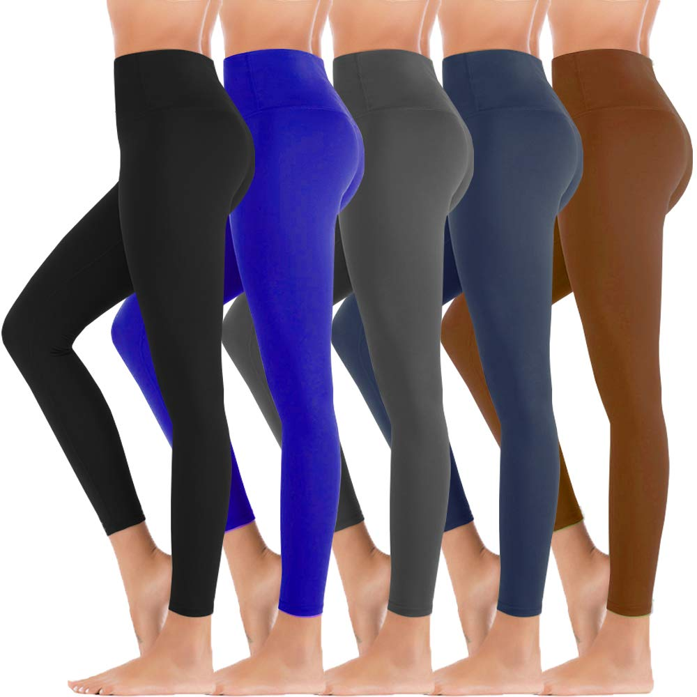 5 Pack Black High Waisted Leggings for Women-Reg & Plus Size