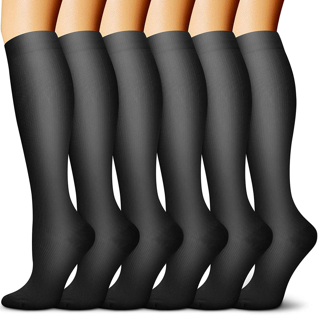 6-Pairs Black Compression Socks For Men & Women (15-20mmHG) | Actinput