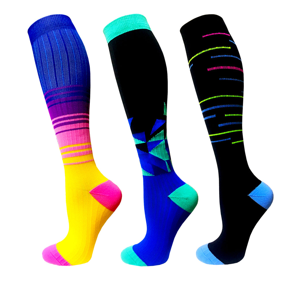 3-Pairs Color Mix Fashion Compression Socks (20-30 mmHG)| Actinput