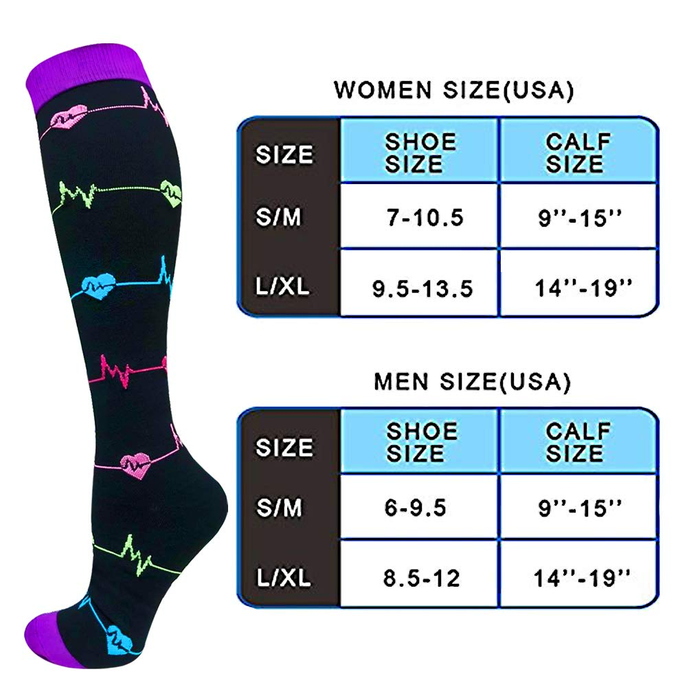 3-Pairs ECG Design Compression Socks 20-25 mmHG for Man and Woman | ACTINPUT