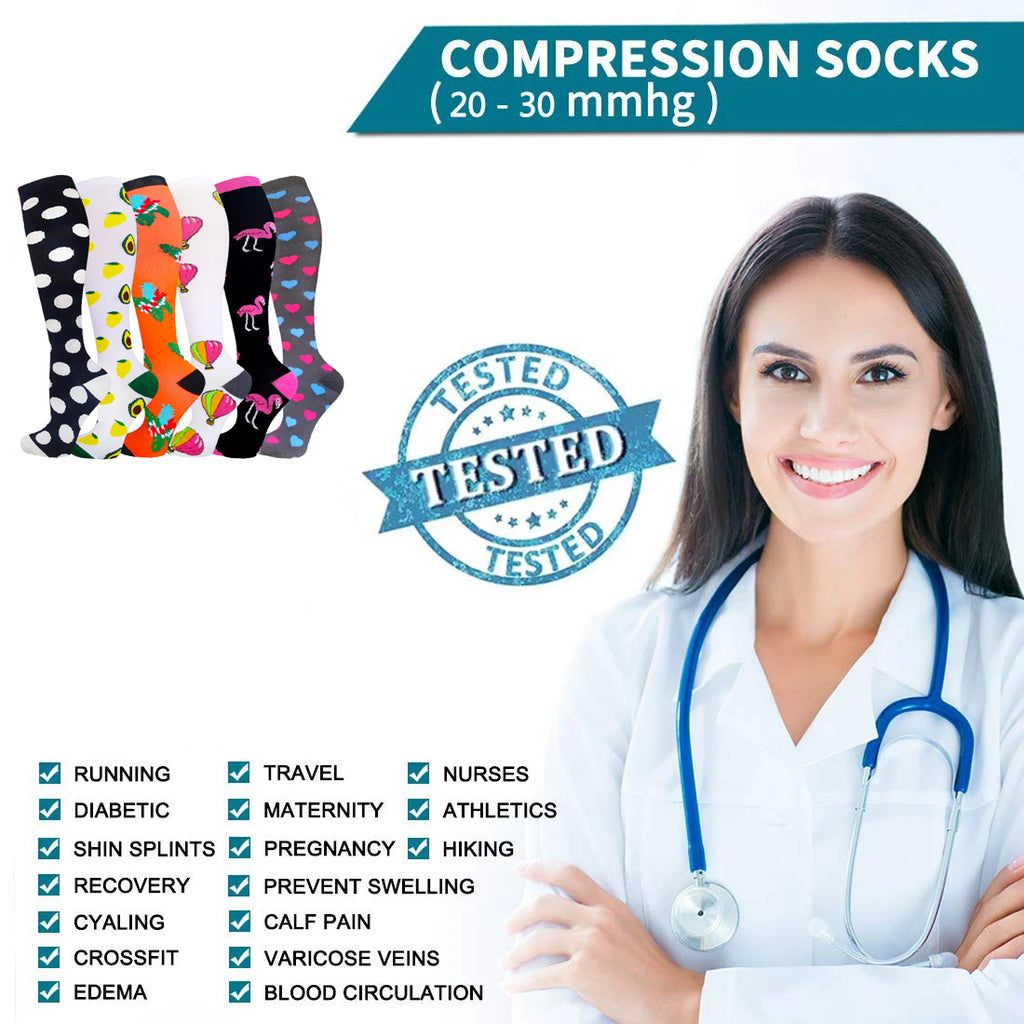 6-Pairs Cute Style Compression Socks for Man and Woman(20-30 mmHG) | ACTINPUT