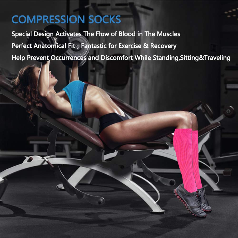 3-Pairs Color Mix Knee Length Compression Socks(20-30 mmHG) | Actinput