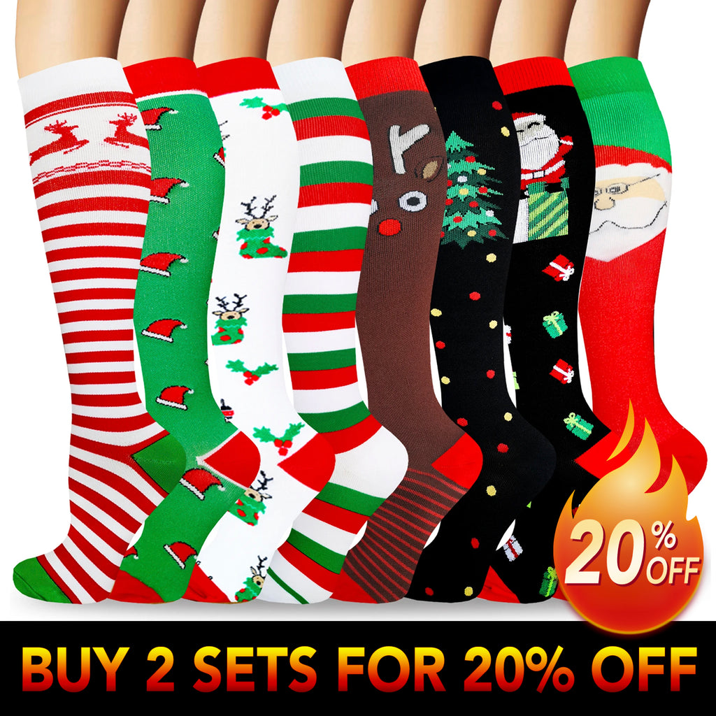 4-Pairs Color mixed Compression Socks by Actinput (20-25 mmHG)| ACTINPUT
