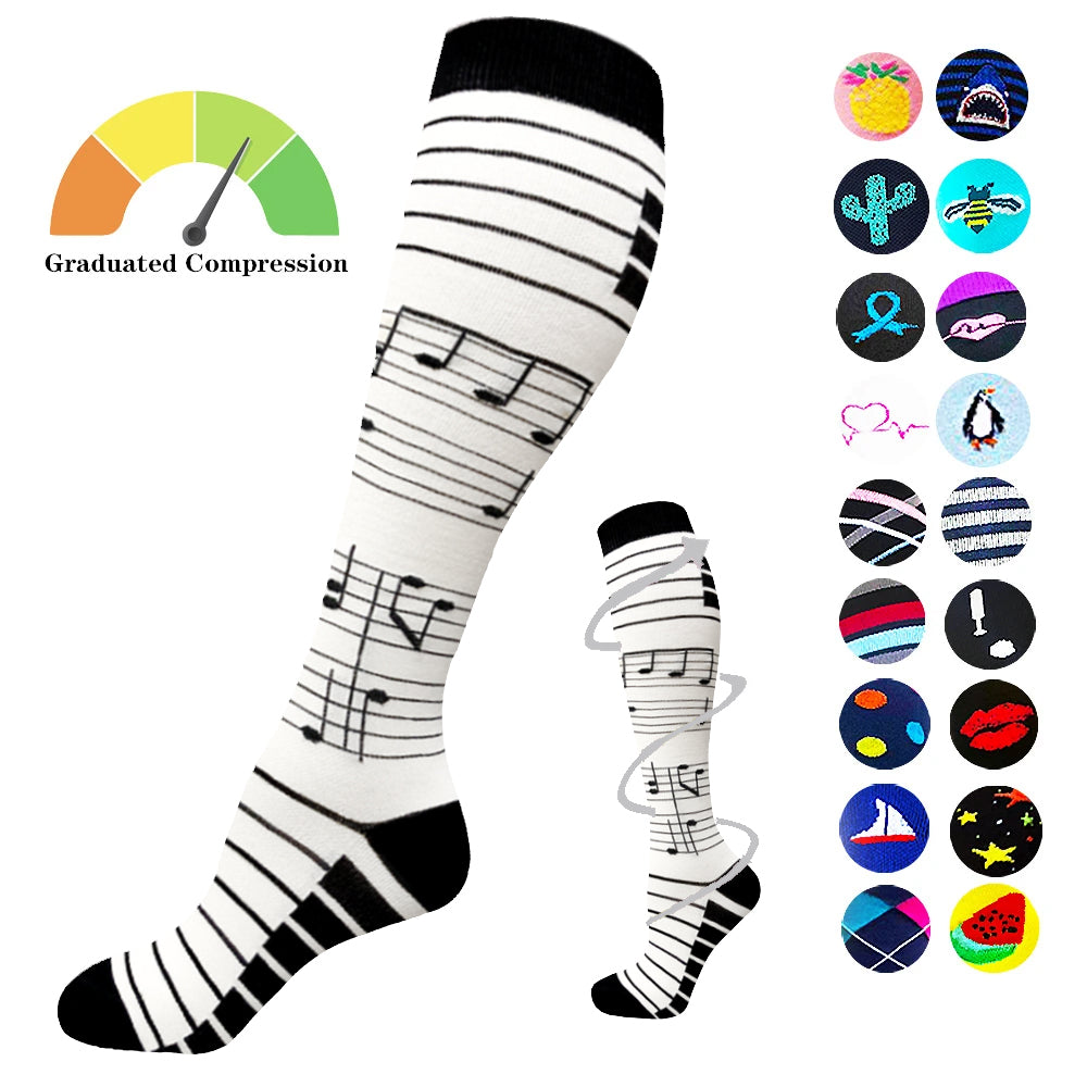 1-Pair Music Note Print Compression Socks ( 20-30MMHG) | Actinput