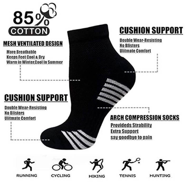 6-Pairs Copper Running Compression Socks -5