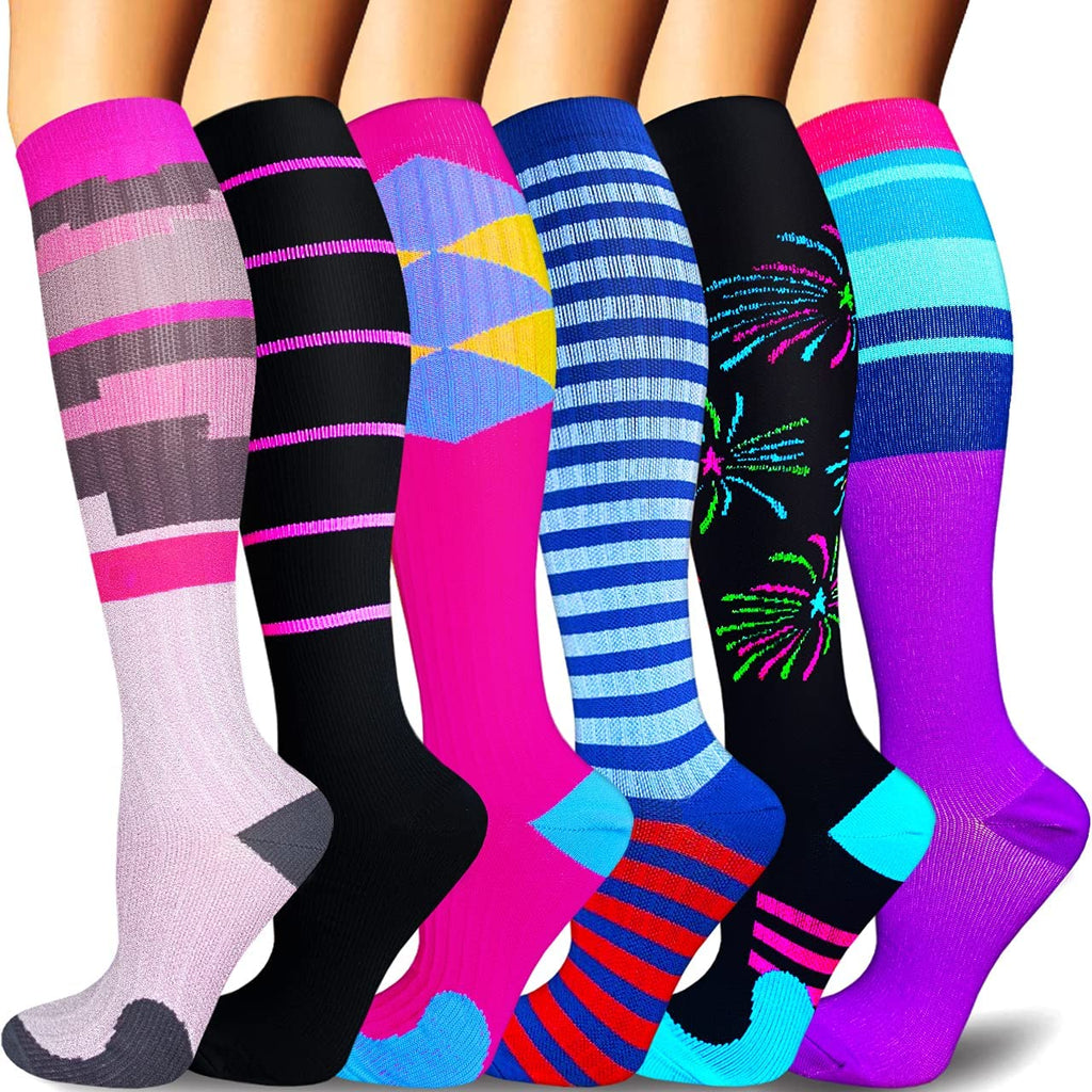 6-Pairs Fashion Design Compression Socks for Man and Woman(20-30 mmHG) | ACTINPUT