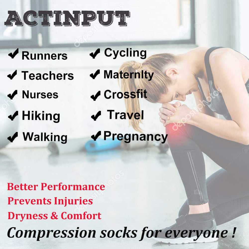 5-Pairs Compression Socks for Man and Woman (15-25 mmHG)| ACTINPUT