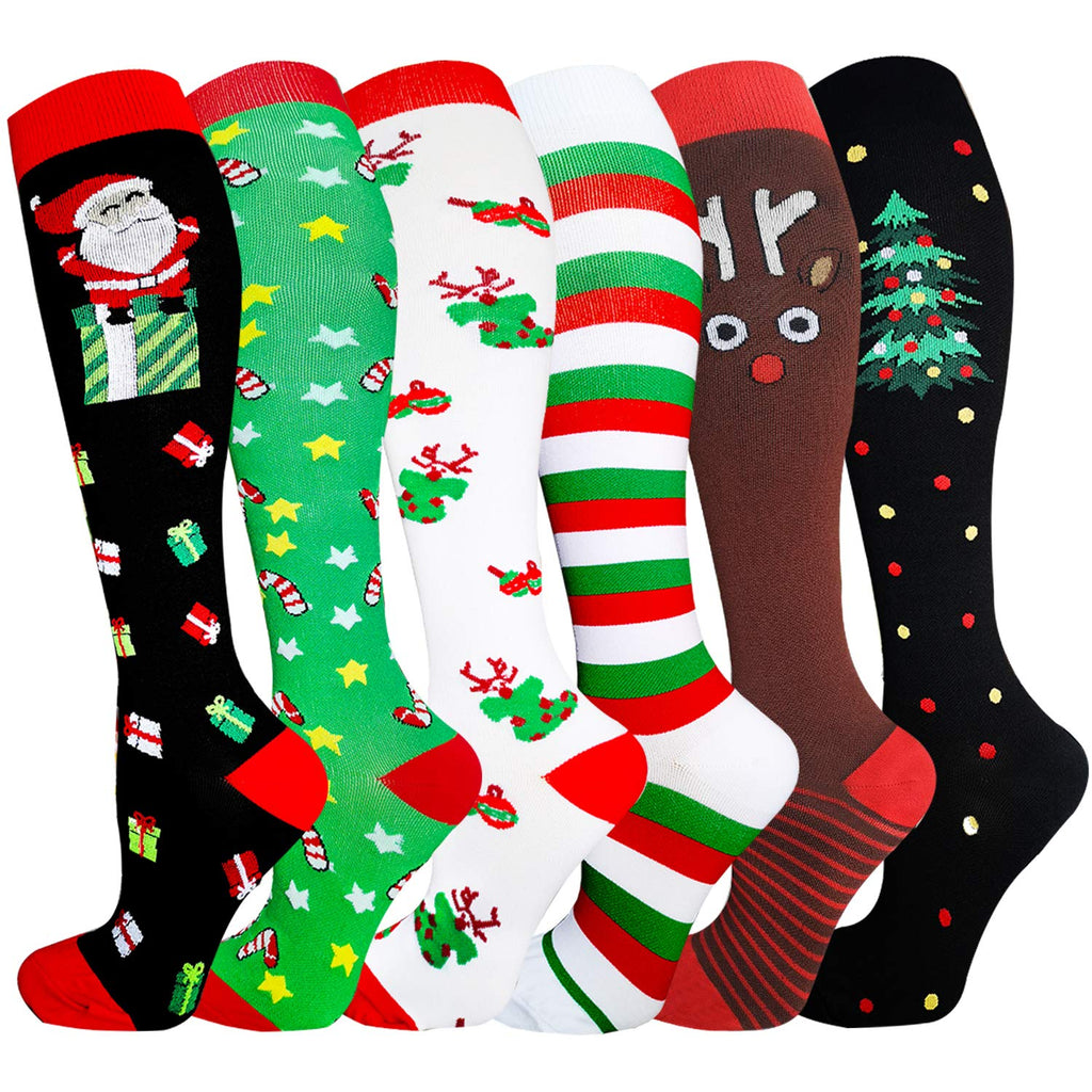 6-Pairs Christmas Compression Socks For Men & Women(20-25mmHG)| Actinput