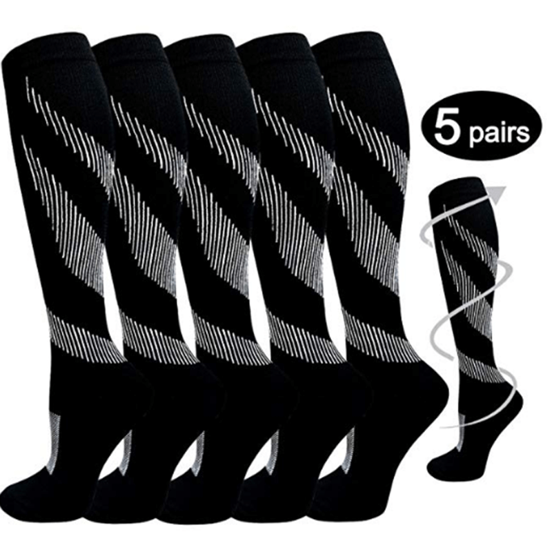 5-Pairs Black Striped Knee Length Compression Socks-1