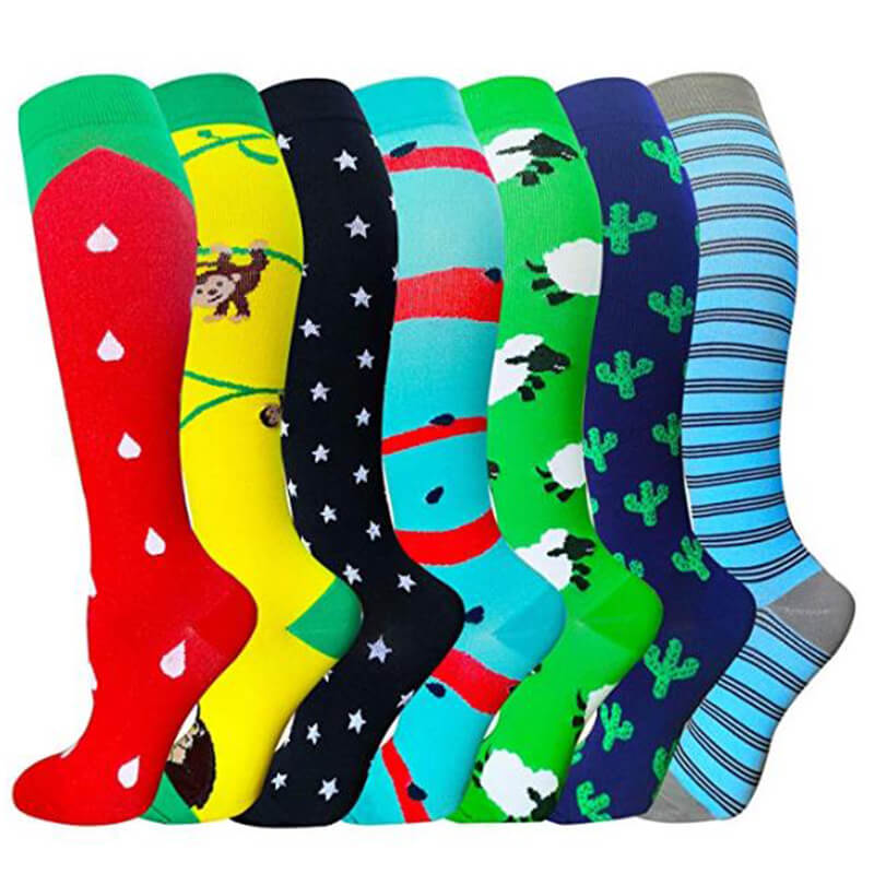 7-Pairs Cute Stylish Compression Socks 20-25 mmHg for Man and Woman | ACTINPUT