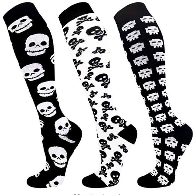 3-Pairs Skeleton Print Compression Socks 20-25 mmHG for Man and Woman -1