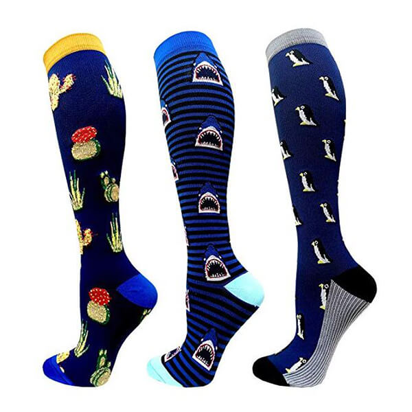 3-Pairs Cute Animals Compression Socks 20-25 mmHG for Woman & Man-1