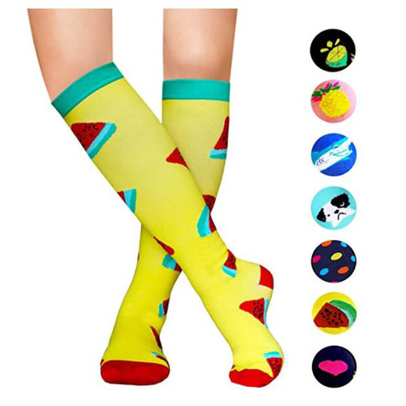 1-Pair Watermelon Print Compression Socks 20-25mmHg for Man and Woman -1