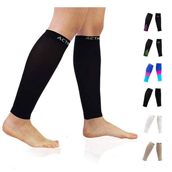 Black Compression Calf Sleeves (20-30mmHg) for Men & Women