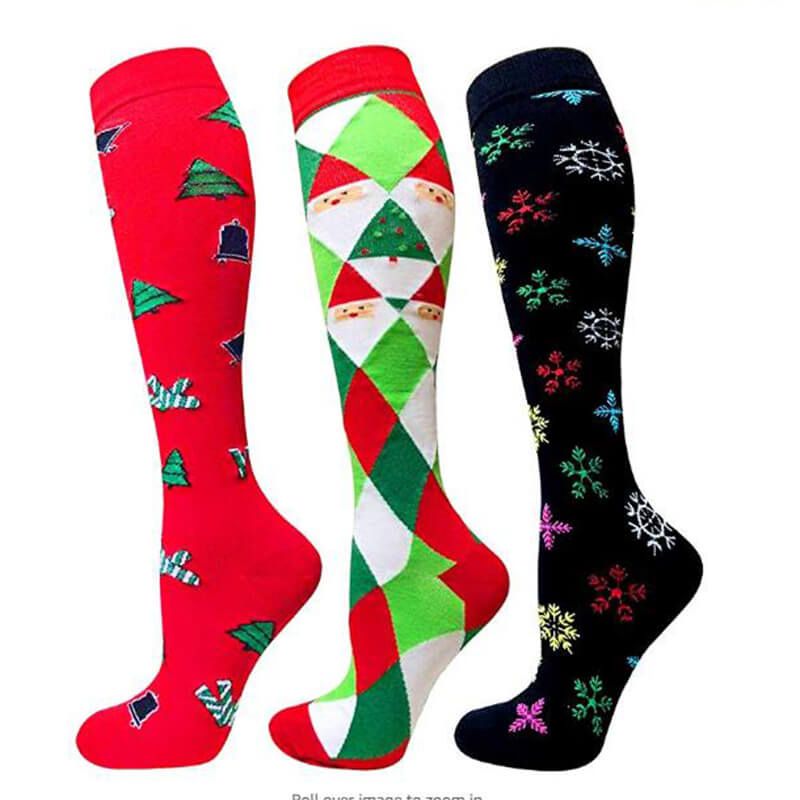 3-Pairs Christmas Fashion Compresssion Socks for Man and Woman -2