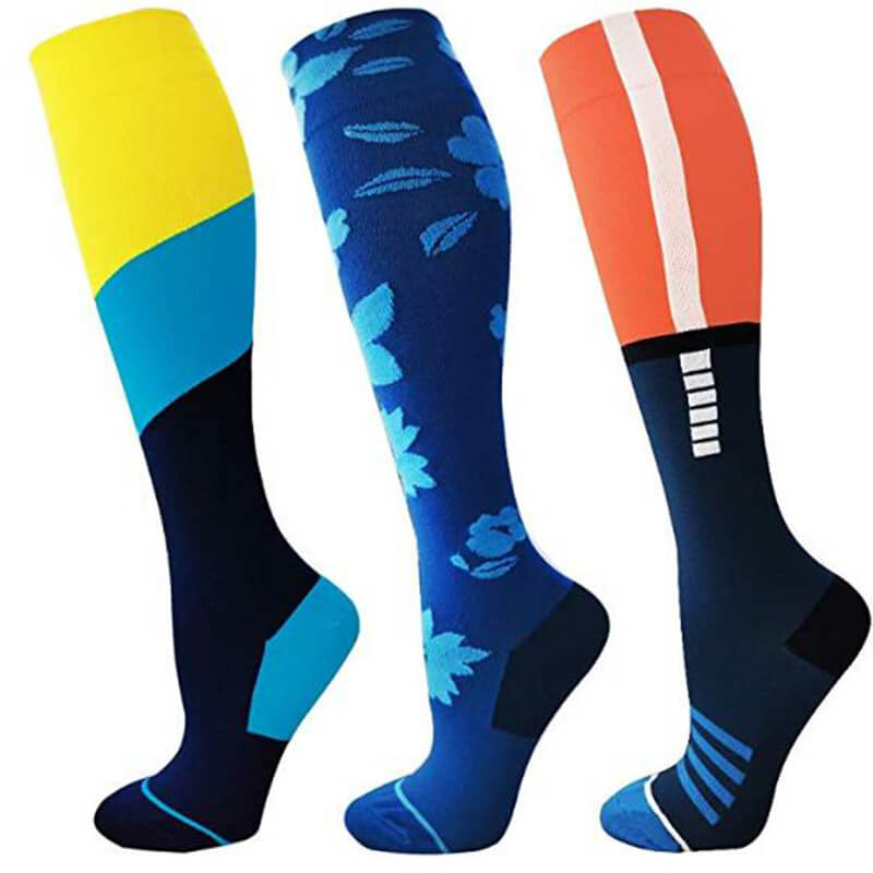 3-Pairs Color Block Compression Stockings 20-25 mmHg for Man and Woman -1