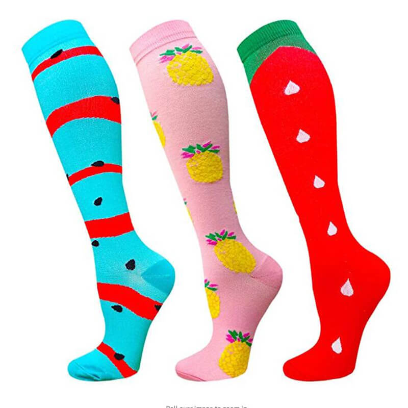 3-Pairs Fruit Print Stylish Compression Socks 20-25 mmHG For Man and Woman -1