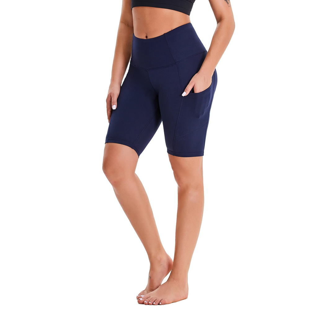 Dark Blue Women's High Waist Yoga Short Side Pocket Workout Leggings