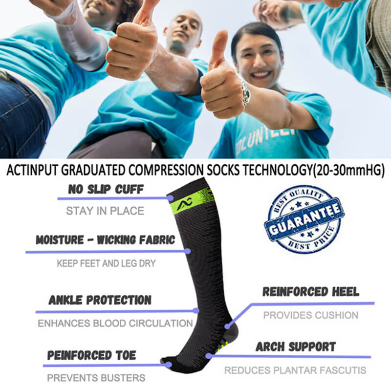 1-Pair Compression Socks for Athletics - Green-3
