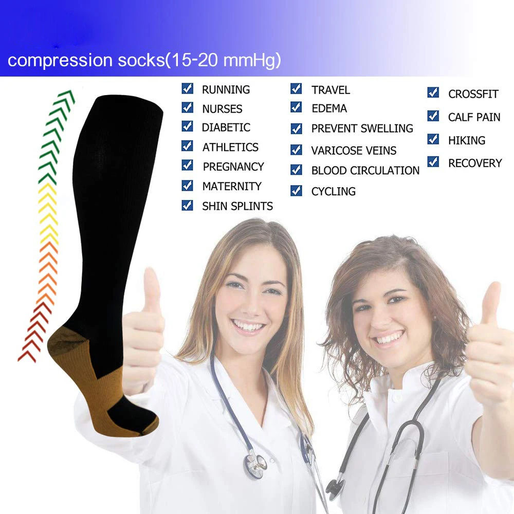 3-Pairs Black Copper Compression Socks For Men & Women (15-20mmHG) | Actinput