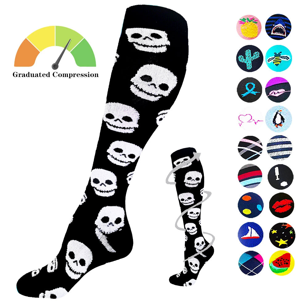1-Pair Skull Print Compression Socks ( 20-30mmHg) | Actinput