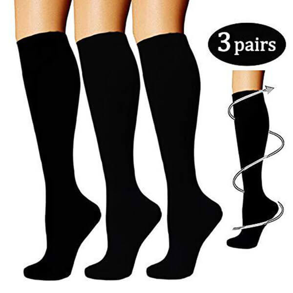 3-Pairs Black Knee-Length Compression Socks(15-20 mmHG) | Actinput