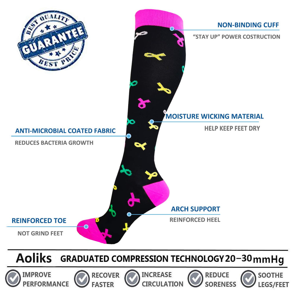 3-Pairs Cute Compression Socks For Men & Women (20-25 mmHG)I ACTINPUT