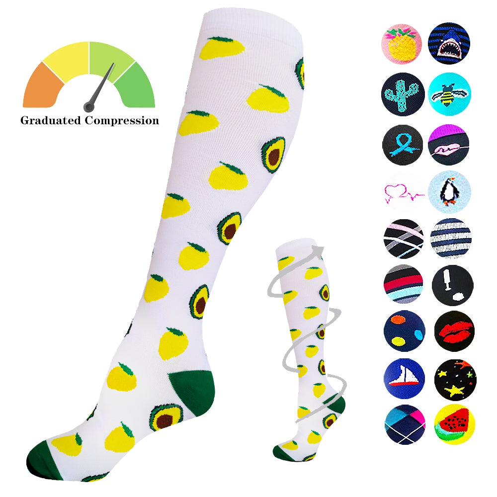 1-Pair Avocado Print Compression Socks ( 20-30MMHG) | Actinput