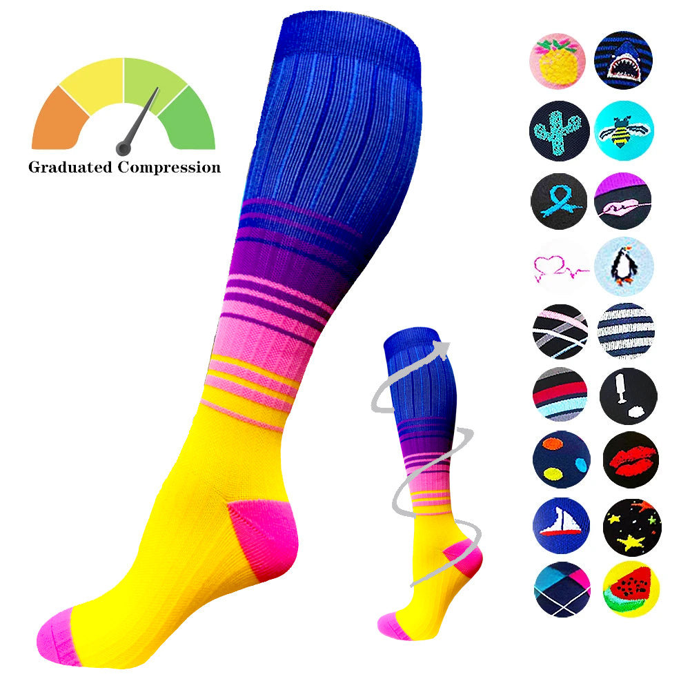 1-Pair Colorful Gradient Compression Socks ( 20-30MMHG) | Actinput