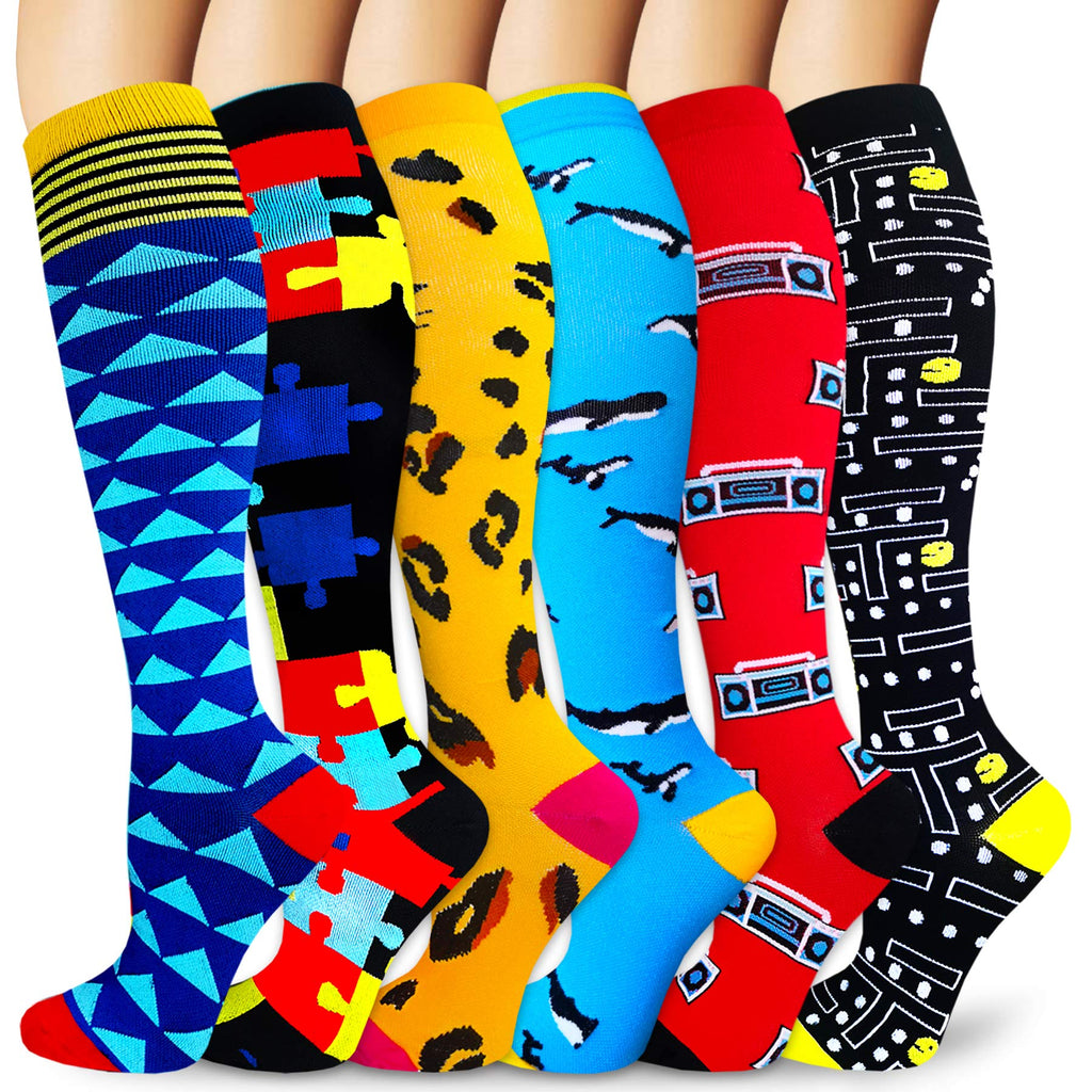 6-Pairs Cool Design Mix Compression Socks for Man and Woman | ACTINPUT