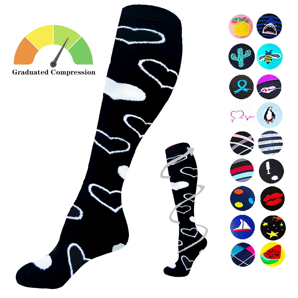 1-Pair White Heart Print Compression Socks ( 20-30MMHG) | Actinput