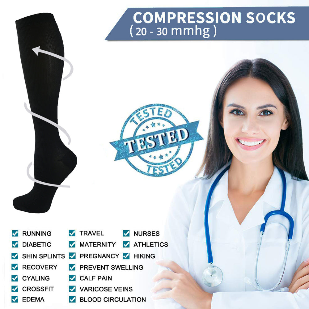 7-Pairs Compression Socks for Man and Woman(20-30 mmHG) | ACTINPUT