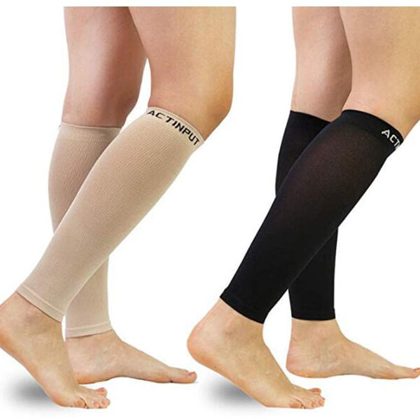 black & nude Compression Calf Sleeves (20-30mmHg) for Men & Women