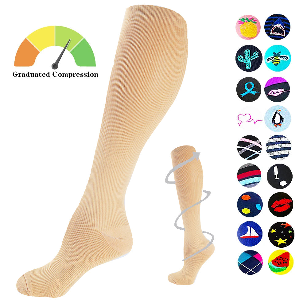 1-Pair Nude Plain Compression Socks ( 15-20MMHG) | Actinput