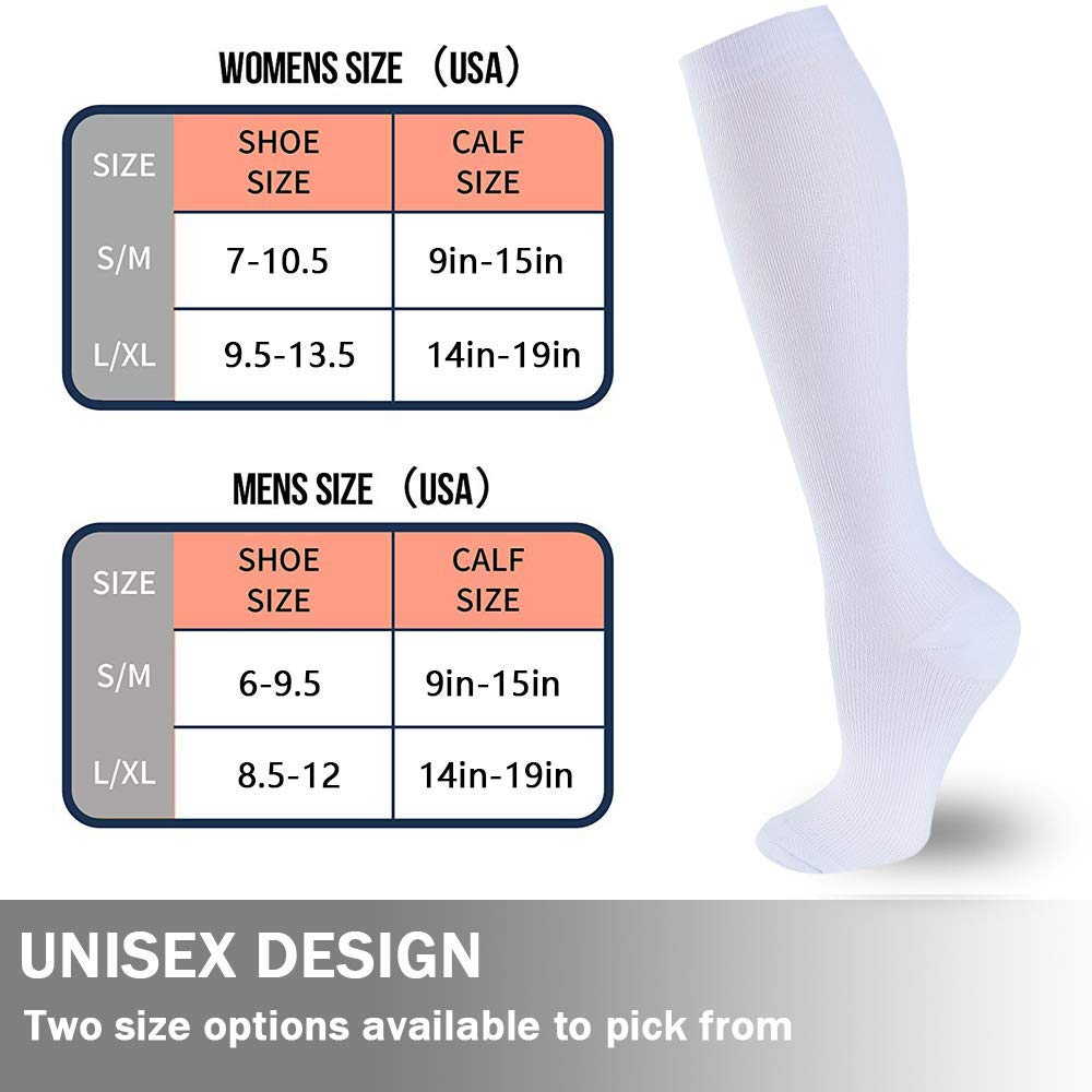 6-Pairs Compression Socks For Men & Women(15-20mmHG)| Actinput