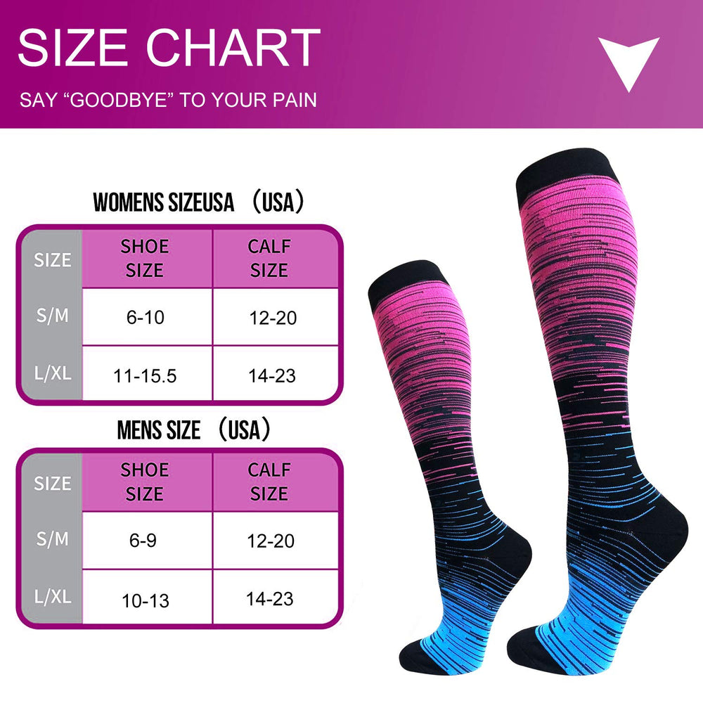 3-Pairs Gradient Compression Socks For Men & Women (20-25 mmHG)I ACTINPUT