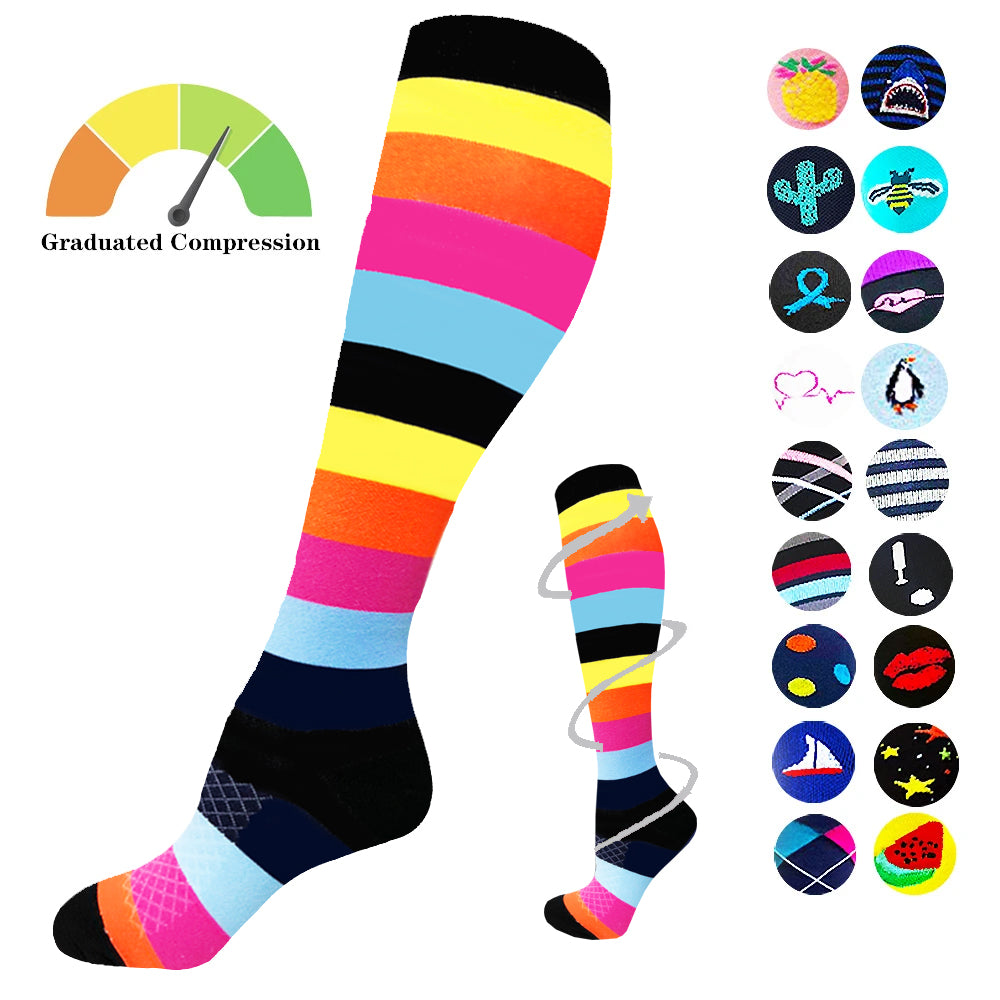 1-Pair Colorful Compression Socks ( 20-30MMHG) | Actinput