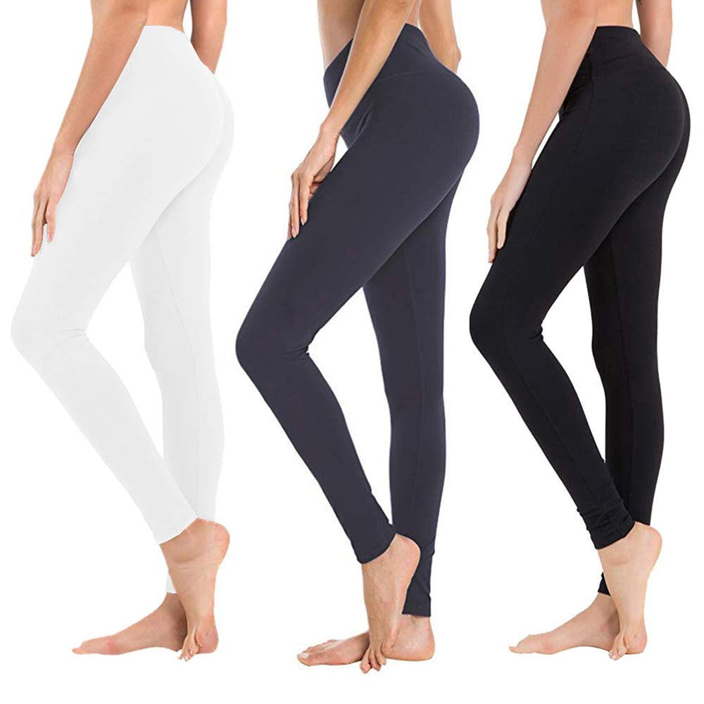 3/7 Pack High Waisted Leggings for Women-Reg & Plus Size