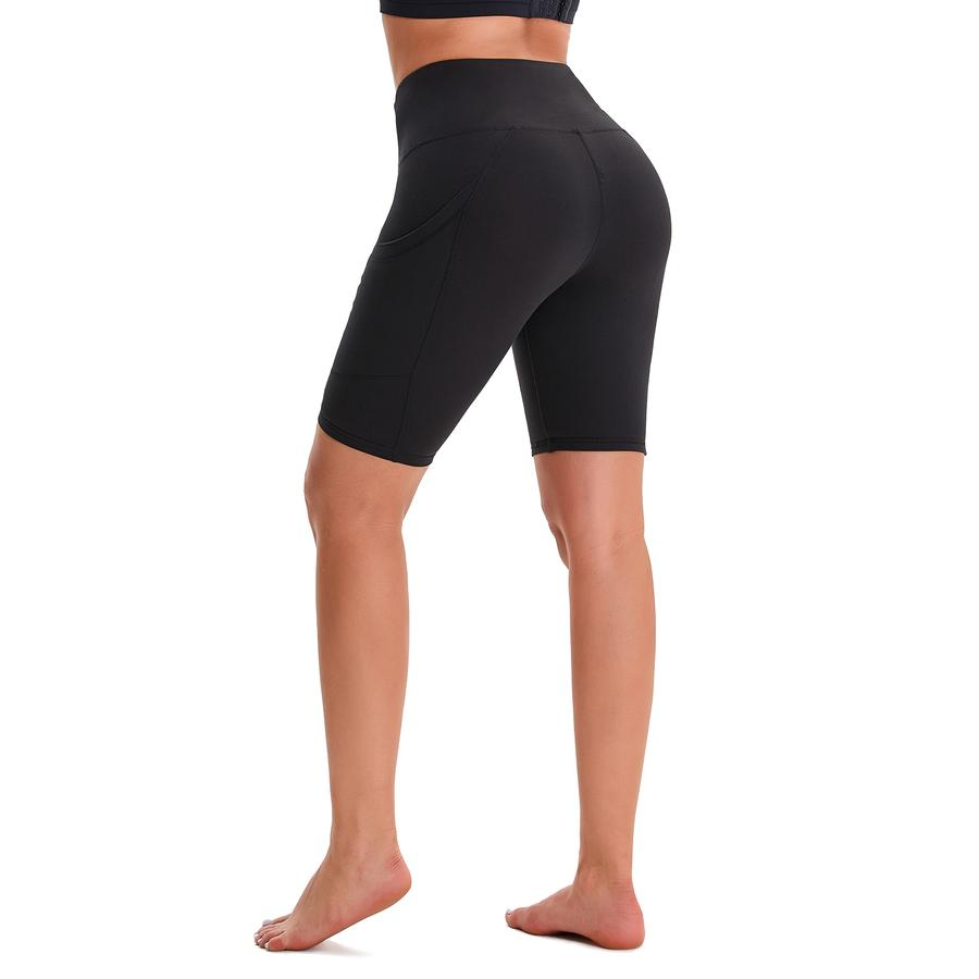 Black Women's High Waist Yoga Short Side Pocket Workout Leggings