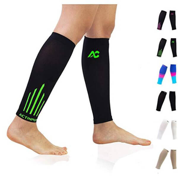 Black/Green Compression Calf Sleeves