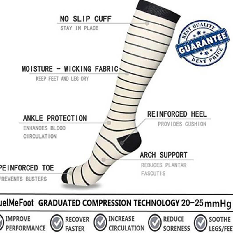 7-Pairs Athletic Knee-Length Compression Socks-3