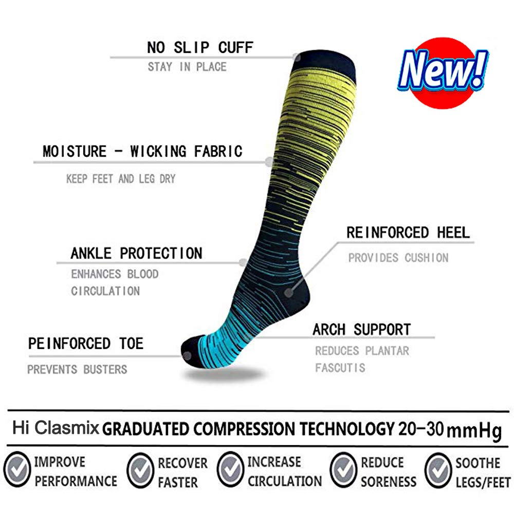 5-Pairs Gradient Compression Socks For Men & Women (20-30 mmHG)I ACTINPUT